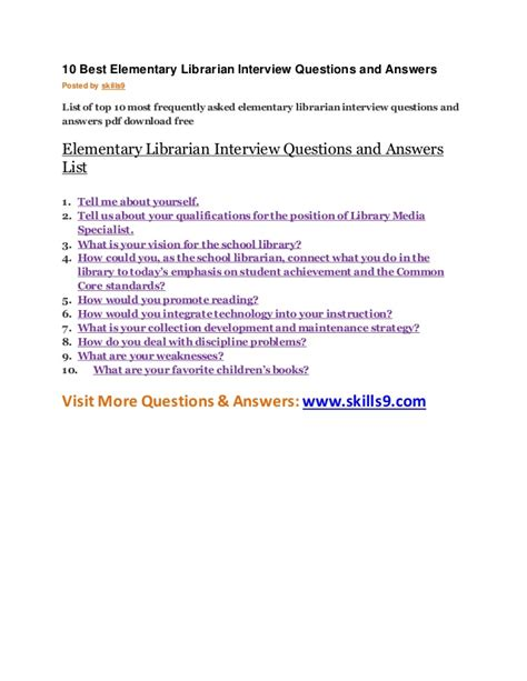 10 best elementary librarian questions and answers