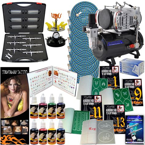 tattoo kit singapore 6 airbrush pro temporary tattoo compressor stencil kit ebay