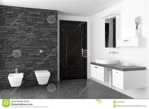 Black Bidet Modernes Badezimmer Mit Schwarzer Steinwand Stockbild