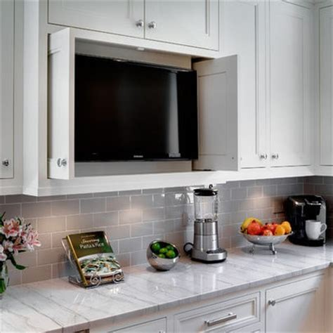 kitchen tv ideas cabinet that hides appliances favorite kitchens
