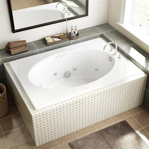 oval whirlpool bathtubs shop jacuzzi primo white acrylic oval in rectangle