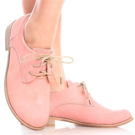 womens pink oxford shoes pink casual pastel lace up brogue oxford womens low mid