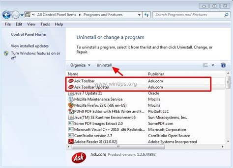 uninstall ask toolbar windows 7 how to uninstall on windows 7 newhairstylesformen2014 com