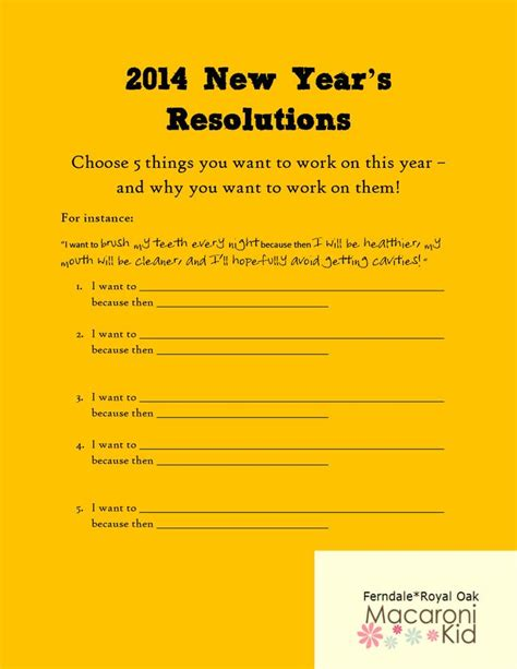 new years resolution worksheet new years resolutions worksheet new calendar template