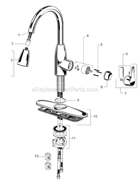 american standard kitchen faucets parts american standard 4175 300 parts list and diagram ereplacementparts com