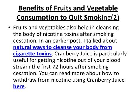 How To Detox Your From Nicotine Fast by Fruits And Vegetables Help Cessation