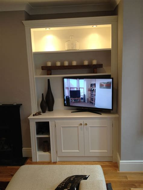 illuminated built  tv alcove storage alcove storage