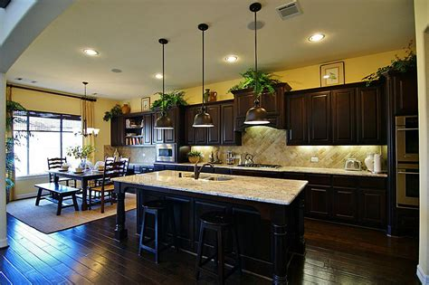 Delightful Dark Kitchen Design With Yellow Wall Color And