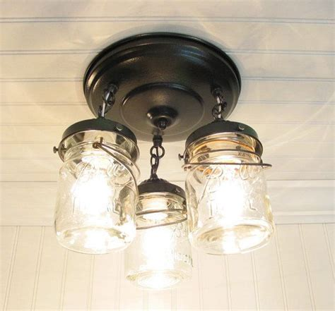 ceiling fan with mason jar lights mason jar ceiling lighting fixture vintage pint trio