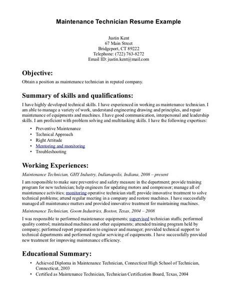 maintenance technician resume http www resumecareer