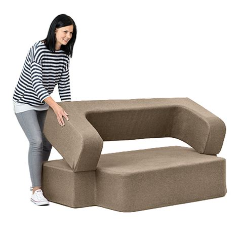 foam flip sofa bed latte wool feel poppy easy fold out flip sofa bed foam