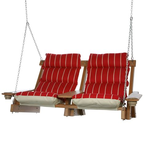 head swing cedar durawood deluxe double cushioned swing