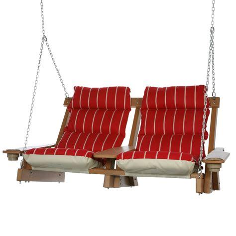 head swing cedar durawood deluxe double cushioned swing