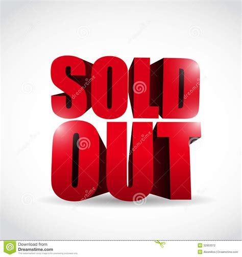 3d font design online sold out 3d text sign illustration design stock