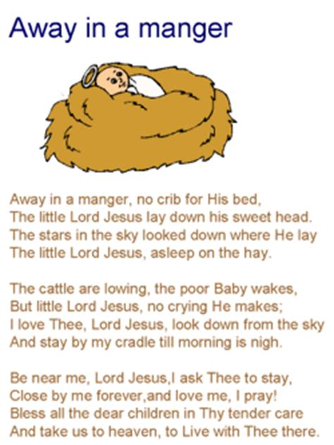 printable lyrics for away in a manger away in a manger