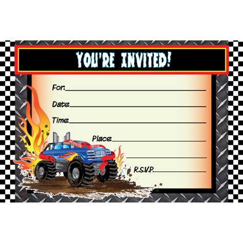 monster truck birthday invitations ideas bagvania free