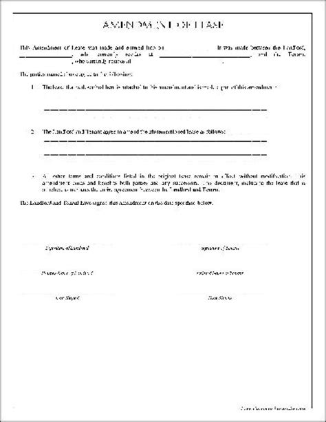 lease amendment form amendment to lease agreement free printable documents