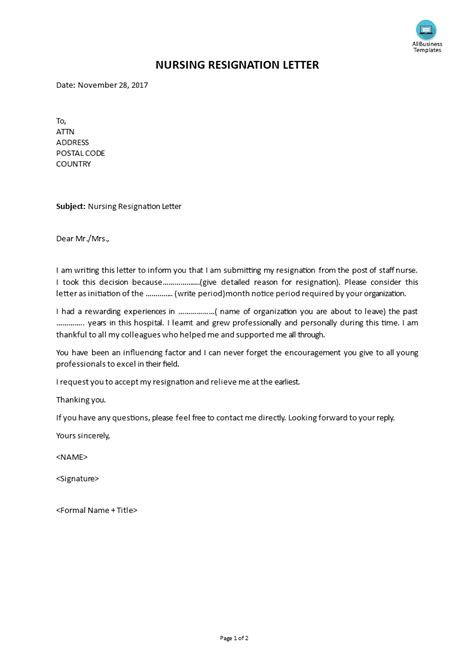 resignation letter staff nurse sample resignation letter