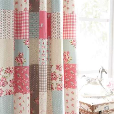 Blue Patchwork Curtains - ballerina shabby patchwork chic blue pink cotton 66 x 72