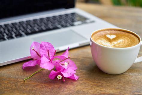 coffee wallpaper pink purple petaled flower beside cup of coffee and laptop