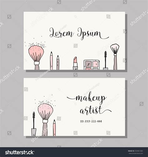makeup artist cards templates makeup artist business card vector template stock vector