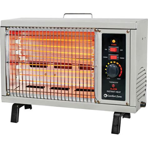 comfort zone heater comfort zone 5 120 btu electric radiant heater gray