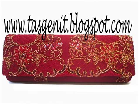 Clutch Brokat tas pesta brokat merah terjual kode 672
