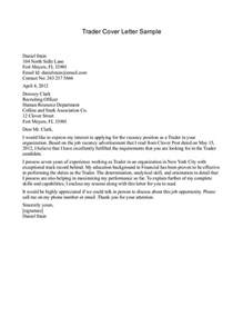 Cover Letter For by Cover Letter Sle For Trader Best Cover Letter Sle