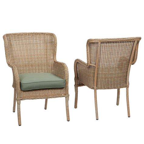 Outdoor Dining Chair Hton Bay Lemon Grove Stationary Wicker Outdoor Dining Chair With Surplus Cushion 2 Pack