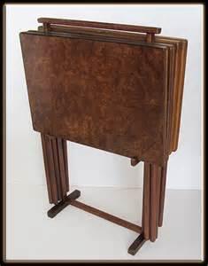 60s mid century modern set of 4 burl wood tv tray set w carrier rack