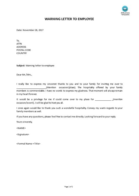 Warning Letter Employee | Templates at
