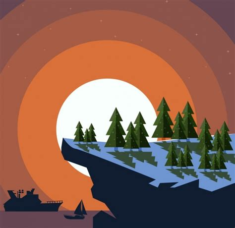 background design ai landscape background mountain forest sea icons free vector
