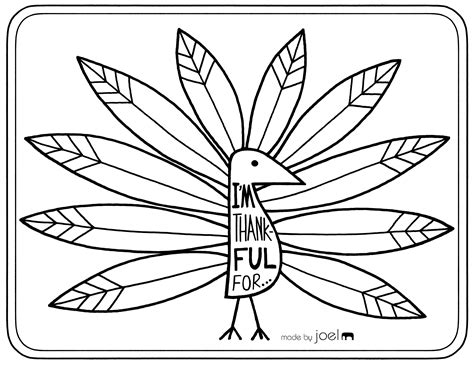 Gratitude Turkey Template by Made By Joel 187 Printable Placemat For Giving Thanks