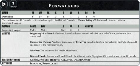 Easy To Build Poxwalker 40k 8th starter box datasheets bell of lost souls