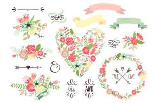 wedding floral clipart wreath heart illustrations on