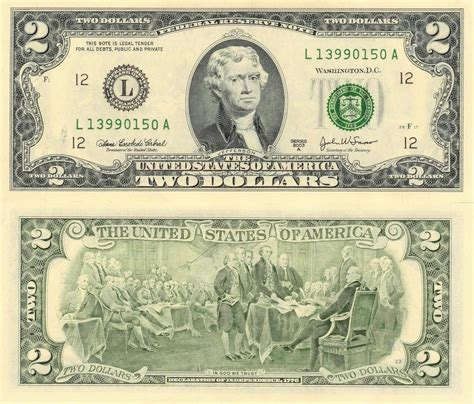 2 dollar bill glossy poster picture photo two money