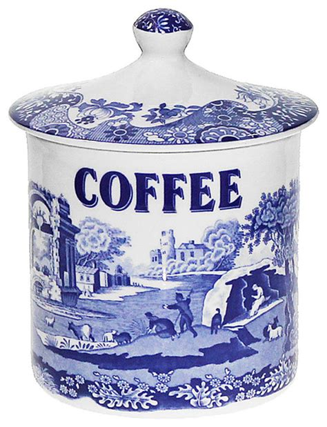 Italian Canisters Kitchen Spode Blue Italian Canister Coffee Contemporary