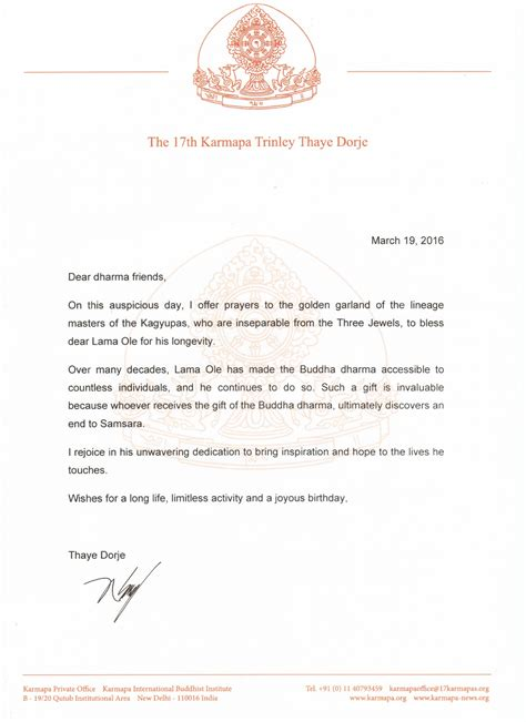Letter For Birthday Wishes For Lama Ole S Birthday Karmapa News