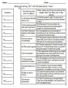 Show Don T Tell Worksheet by Show Don T Tell 7 No Prep Worksheets In 1 By Wein Tpt