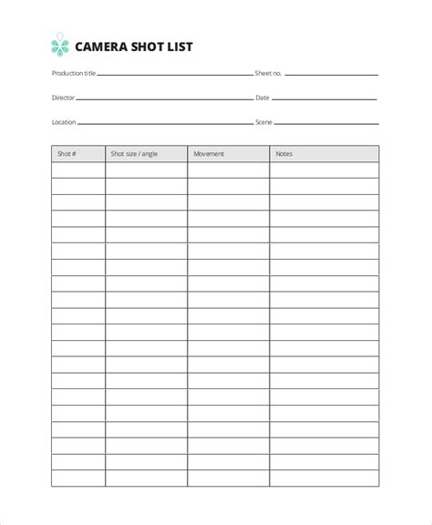 20 shot list template word faculty peer observation