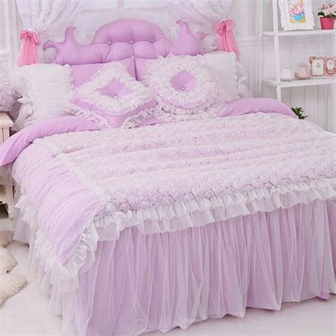 purple ruffle bedding purple rose bedding set