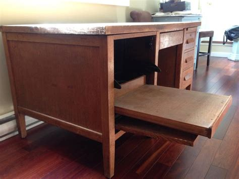 desk with printer drawer sold antique solid wood desk with pull out drawer for
