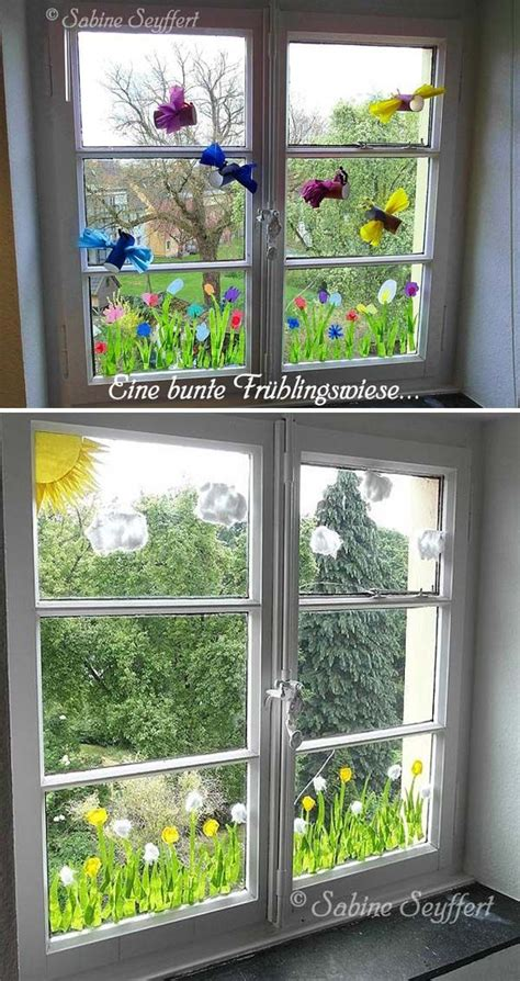 crepe paper dandelions  window decor fenster
