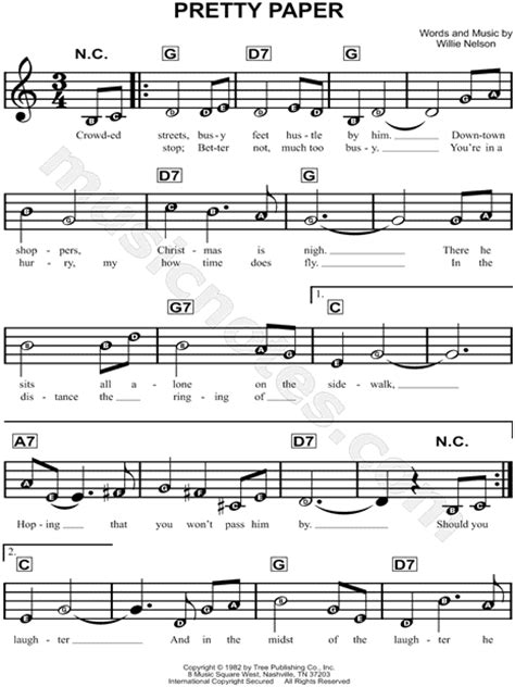 Paper Song - willie nelson quot pretty paper quot sheet for beginners in