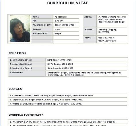 tips and trick template curriculum vitae