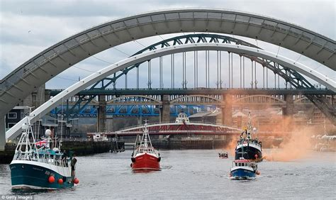 party boat on tyne fishermen take to britain s rivers to protest brexit