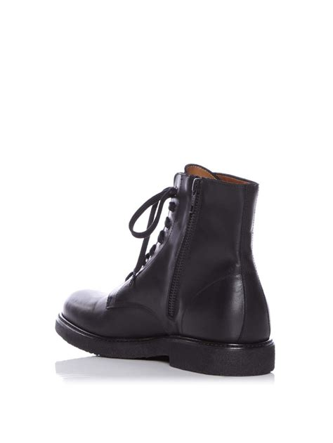 lace up combat boots common projects lace up leather combat boots in black lyst