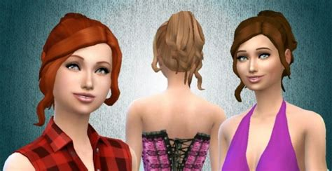 custom contant hair in the sims 4 sims 4 custom content finds curly ponytail hair by kiara