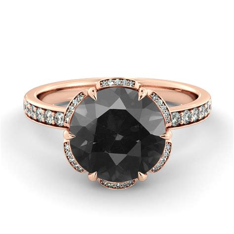 black engagement ring flower ring vintage