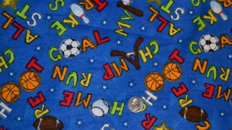Quilt Fabric For Boys by 1 2 Yard Flannel Quilt Fabric Sport Boys Baseball Fabric Blue Auntiechrisquiltfabric